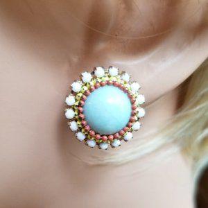 Southwestern  Blue Beaded Stud Pierced Earrings